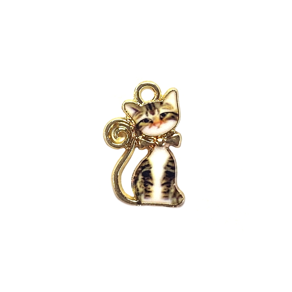 kitty charm, sitting brown tabby, kitty, cat, charm, pendant, 21 x 13mm, B'sue Boutiques, jewelry making, vintage supplies, jewelry supplies, jewelry findings, 01760, white enamel, gold plate, sitting kitty, tabby cat