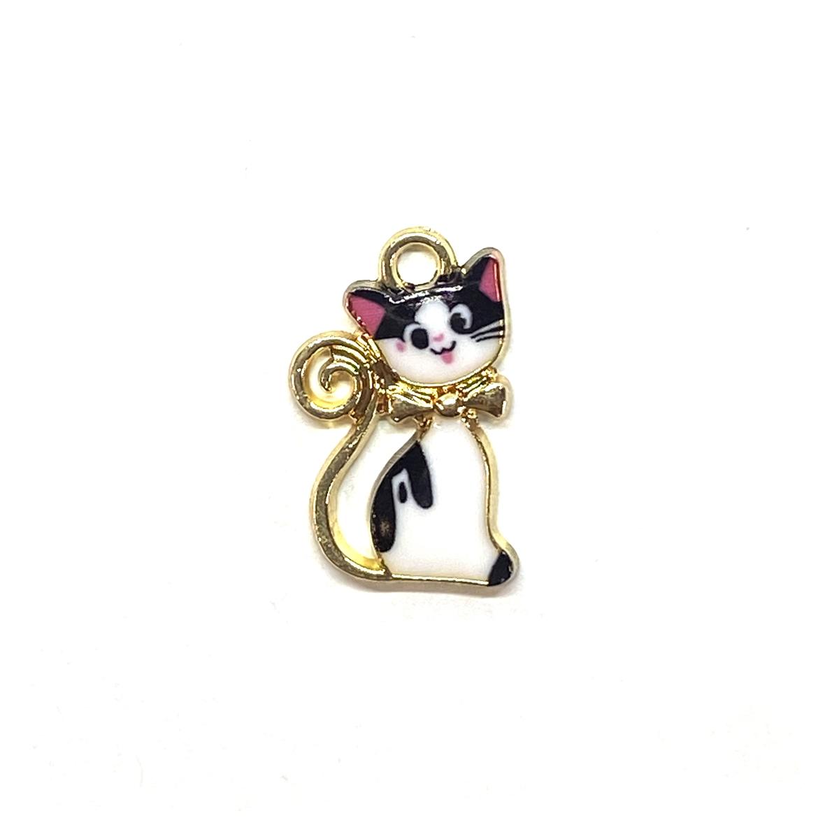 2 Gold Plated Enamel Cat Pendant Charms 13mm Black /& White