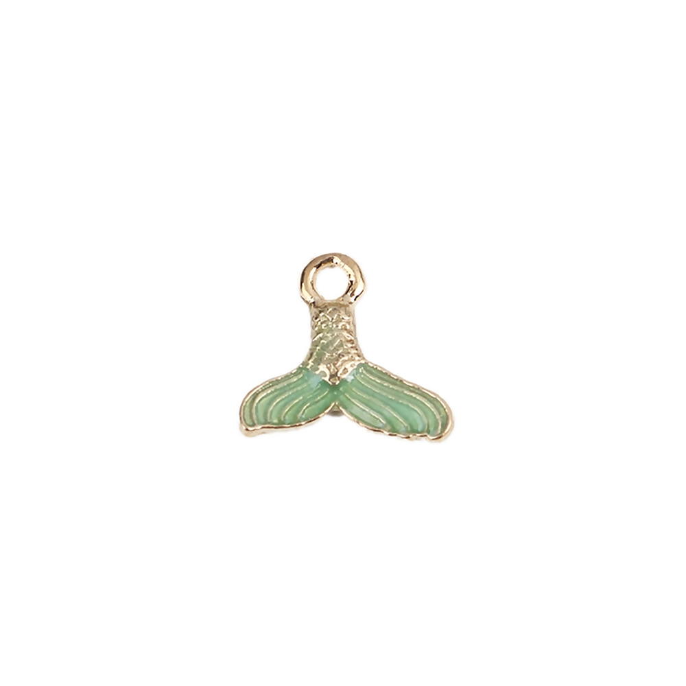 mermaid tail charm, green enamel charm, fishtail charm, mermaid tail enamel charm, mermaid jewelry, charm, pendant, 14x15mm, B'sue Boutiques, jewelry making, vintage supplies, jewelry supplies, jewelry findings, gold plate charm, 01787