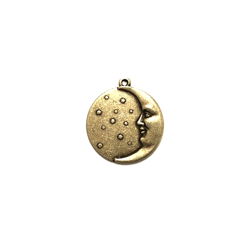left-facing moon charm, moon and stars, moon charm, brass stamping, brass ox, antique brass, black antiquing, jewelry making, jewelry supplies, vintage supplies, US-made, nickel-free, B'sue Boutiques, 17mm, charm, left facing moon, half moon charm, 01802