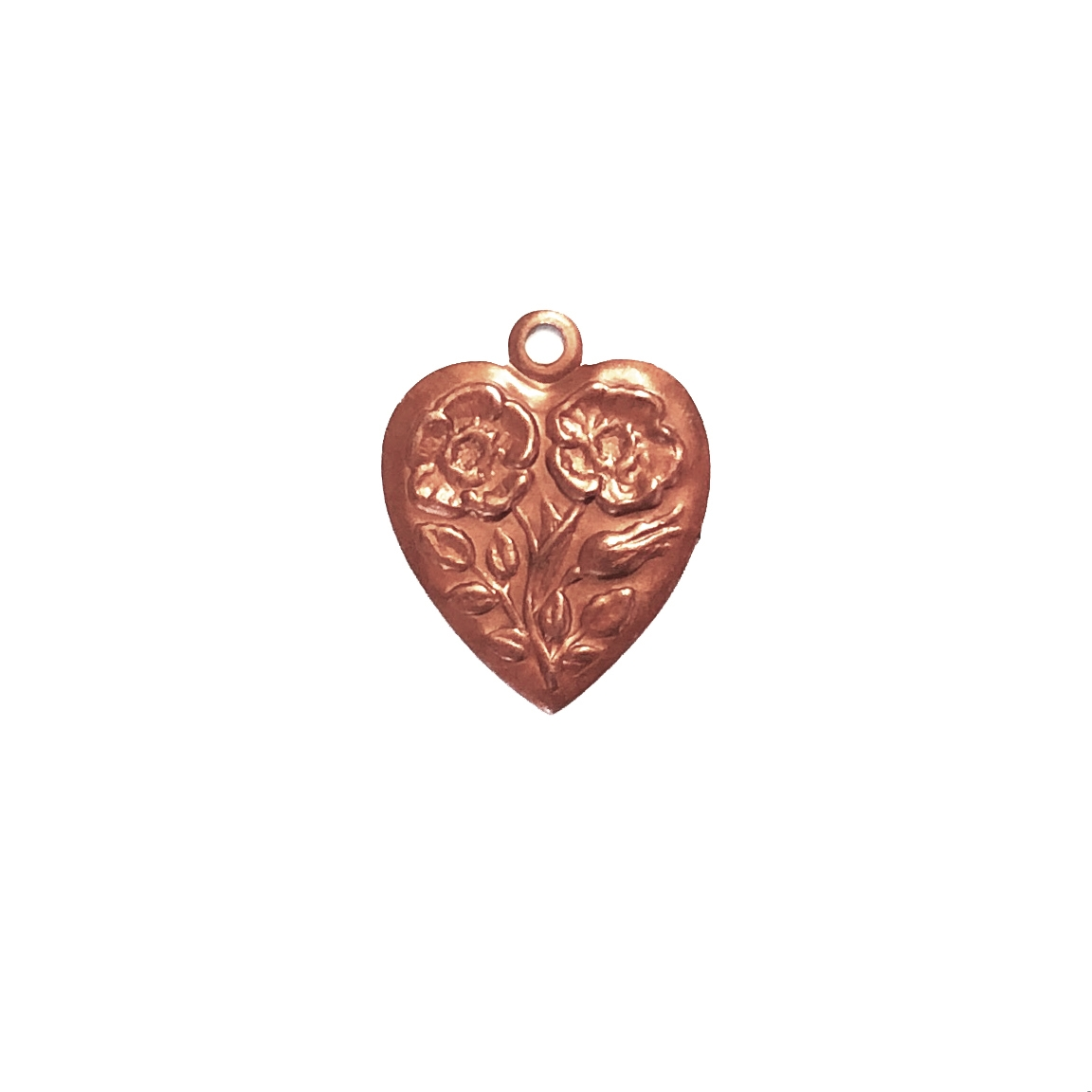 brass charms, heart charms, gingerbread, 0181, floral heart charms, antique copper, vintage jewelry supplies, brass jewelry parts, jewelry findings, US made, nickel free, bsueboutiques