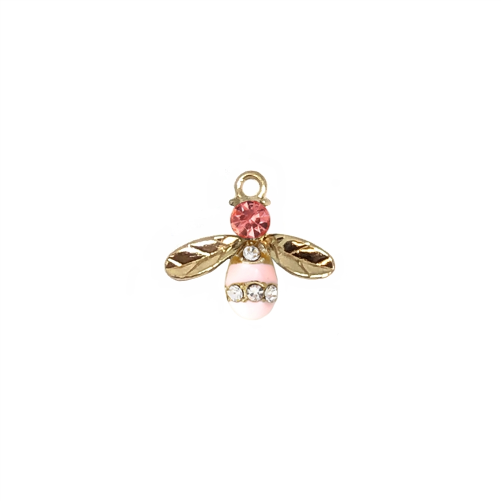 pink rhinestone bee charm, gold plated, charm, bee charm, gold plated bee charm, bee, 17x15mm, bug charm, animal charm, jewelry supplies, jewelry charm, pink enamel charm, pendant, embellishments, rhinestone charm, vintage supplies, jewelry making, 01848