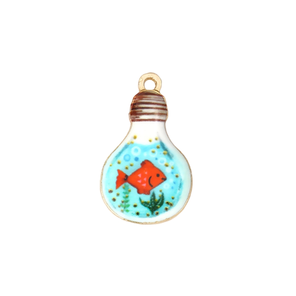 fish in the light bulb charm fish charm, under the sea fish, charm, enamel charm, gold plated charm, jewelry charm, sea jewelry, zinc alloy, 28x17mm, vintage supplies, jewelry supplies, charm supplies, jewelry supplies, Fish in the bulb, 01849