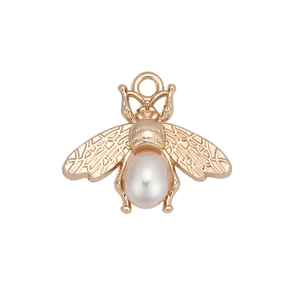 bee pearl charm, gold plated, bee pearl, bee charm, pearl charm, white pearl charm, unique bee charm, charm, gold plated bee, gold plated charm, jewelry charm, 28x24mm, zinc alloy, jewelry making, jewelry supplies, vintage supplies, 01850
