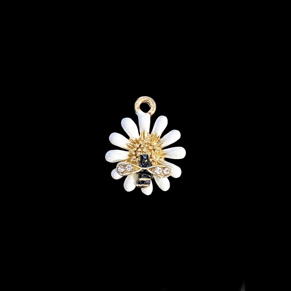 bee in a flower charm, white enamel charm, clear rhinestone charm, charm, flower charm, bee charm, gold plated charm, jewelry charm, 17x14mm, zinc alloy, small bee in a flower charm, jewelry making, jewelry supplies, vintage supplies, 01853