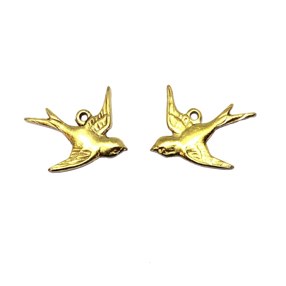 pair of flying birds, charms, raw brass, brass stamping, bird charms, flying birds, left, right, pair, 19x15mm, earrings, US-made, nickel-free, jewelry findings, jewelry supplies, B'sue Boutiques, 01915