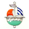 Sailboat Pendant, Sailboat Connector, Enameled Sailboat, Silver Plate Back, 34 x 30mm