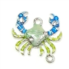 Crab Connectors,Enameled Mint Blue Crab, Silver Plate Back, 21 x 21mm