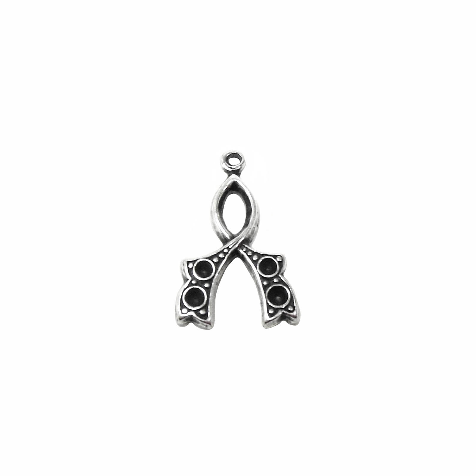 Wish Bone Charm, Silverware Silverplate, 16 x 12mm