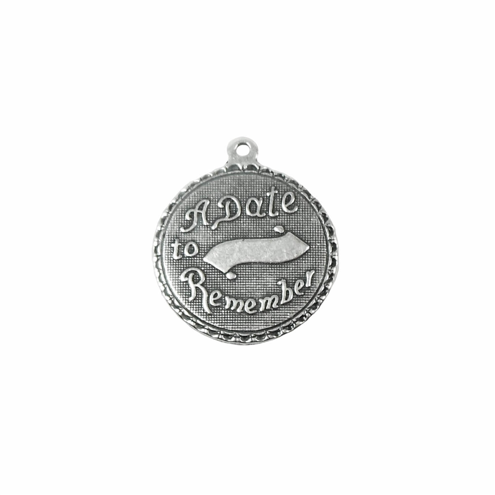 a date to remember inscription charm, silverware silverplate, antique silver, charm, wedding charm, jewelry charm, 18mm, jewelry making, jewelry supplies, vintage supplies, B'sue Boutiques, charm, silver charm, US-made, nickel-free, 02163