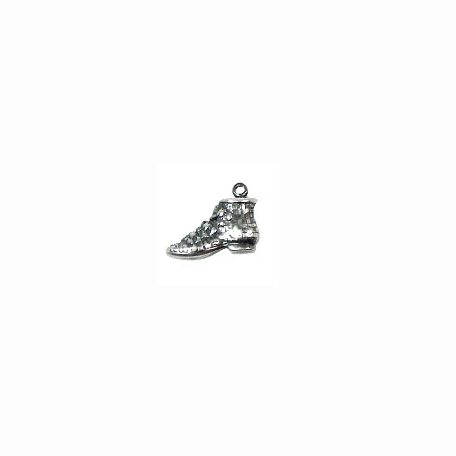 Victorian Slipper Charm, Vintage Shoe,  Floral Accents, Silverware Silverplate, 9 x 9mm