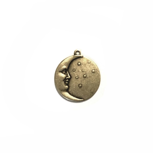 brass moon charm, moon and stars, moon charms, brass stampings, brass ox, antique brass, black antiquing, jewelry making supplies, vintage jewelry supplies, US made, nickel free, bsueboutiques, 02558, 17mm