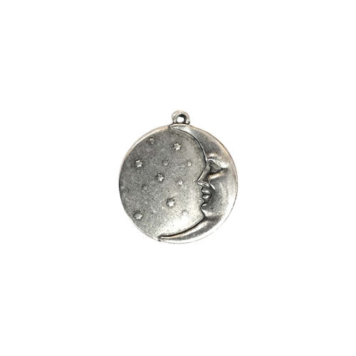 brass moon and stars, antique silver, 02574, vintage jewelry supplies, moon charms, jewelry making supplies, US made, nickel free, bsueboutiques, brass jewelry parts, left facing moon charm
