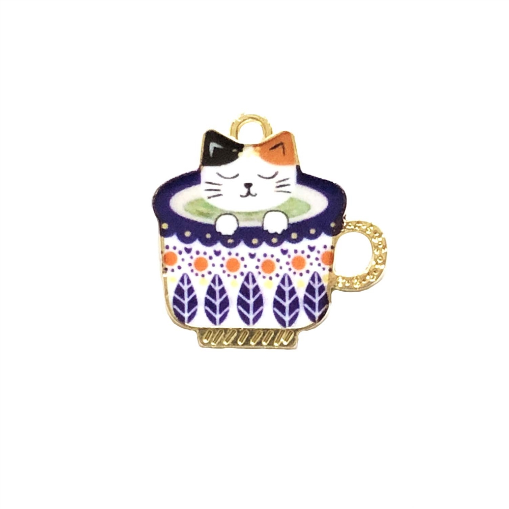 kitty charm, cat n cup charm, kitty, cat, charm, pendant, 23 x 23mm, B'sue Boutiques, jewelry making, vintage supplies, jewelry supplies, jewelry findings, 0275, white enamel, gold plate, snoozing kitty, sleeping kitty