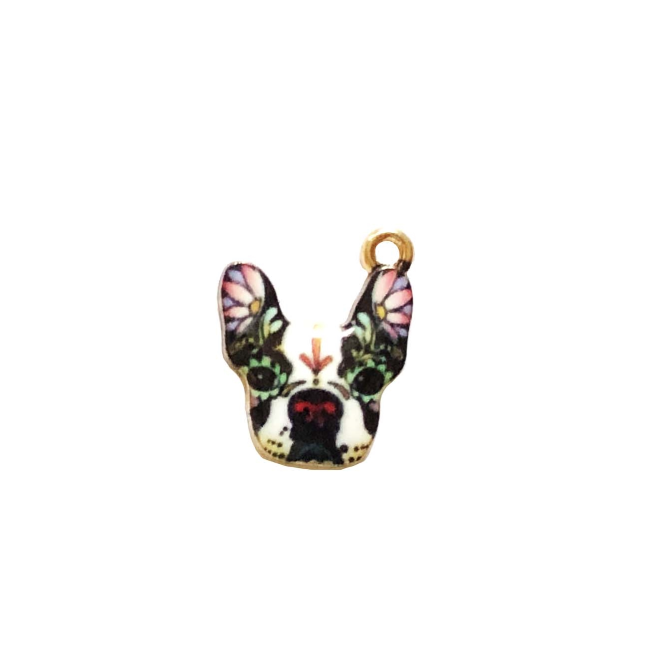 French Bull Dog Charm,  multicolored enamel, charm, pendant, 21 x 13mm, B'sue Boutiques, jewelry making, vintage supplies, jewelry supplies, jewelry findings, 0277,  gold plate, bull dog pendants,