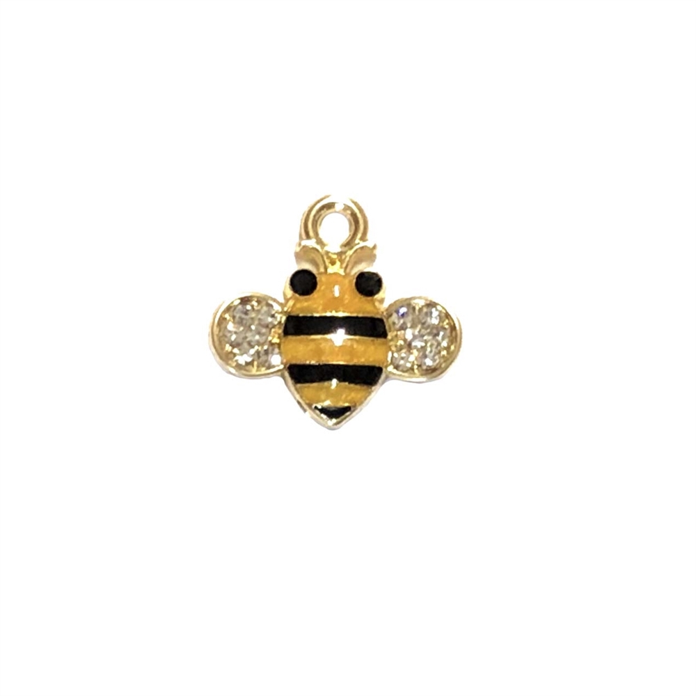 bee charm, gold plated, 18 x 17mm, 0278, insects, charms, bugs, animals, Bsue Boutiques, jewelry supplies, zinc alloy, black enamel, bee, pendant, embellishments, black and butterscotch orange enamel, bee jewelry