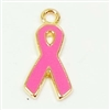 Brass Charms, Breast Cancer Charms, Pink and  Gold Plate, 15mm