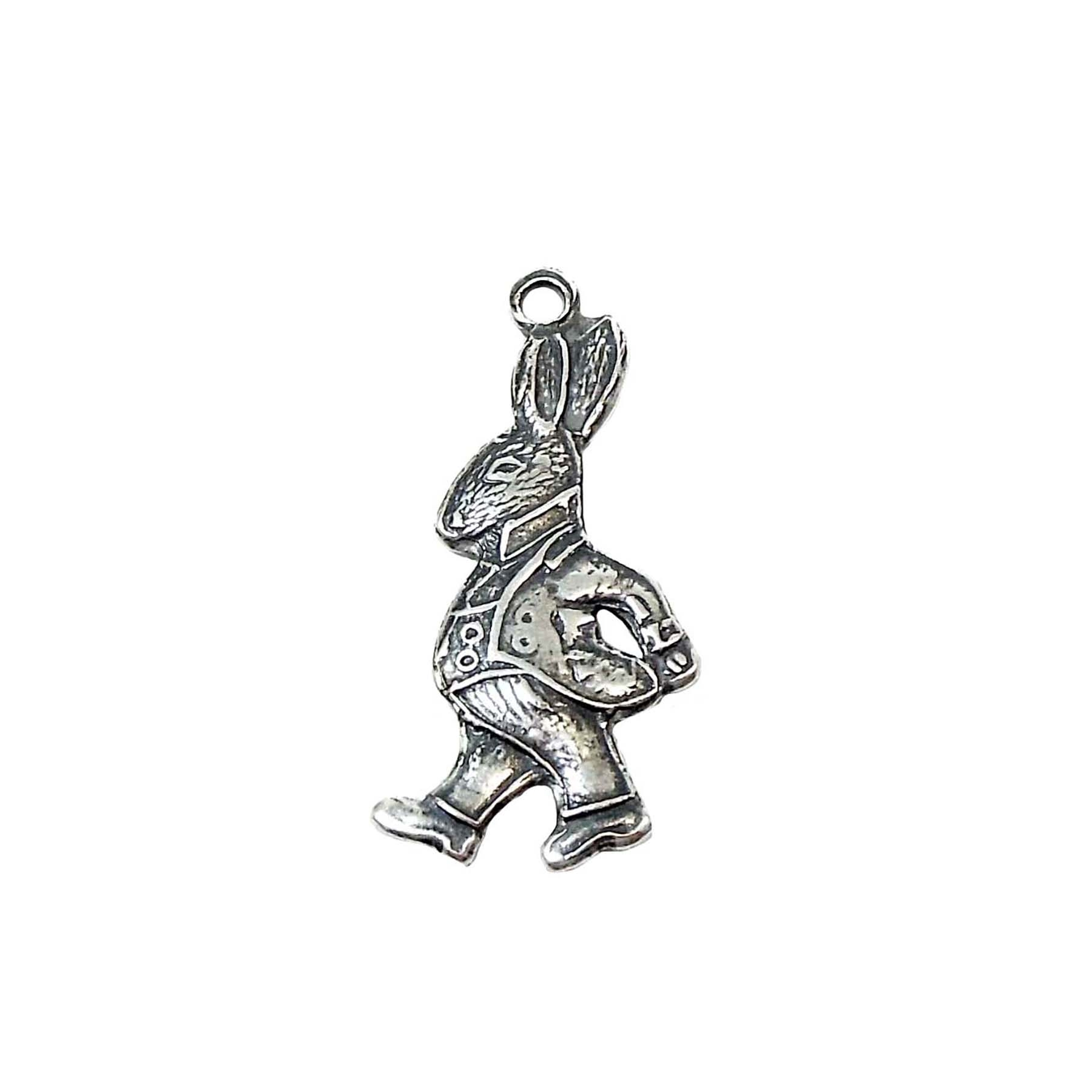 rabbit in suit charm, silverware silverplate, peter rabbit charm, rabbit charm, charm, Alice in wonderland rabbit charm, antique silver, silver rabbit, jewelry charm, jewelry making, jewelry supplies, vintage supplies, US-made, nickel-free, 22x11mm, 02861