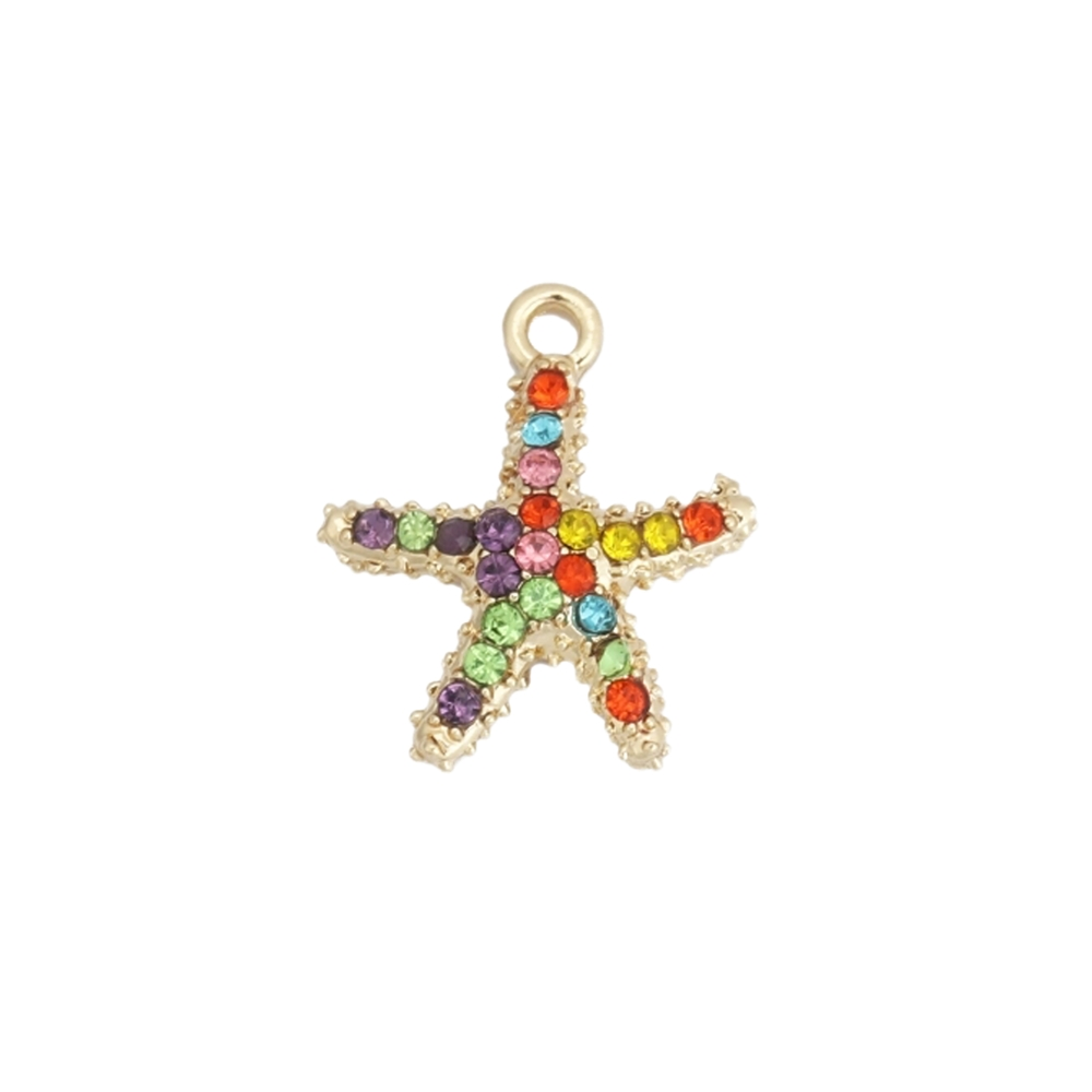 multicolor rhinestone star fish charm, star fish charm, charm, star fish, gold plated, jewelry making, gold plated charm, jewelry supplies, vintage supplies, pendant, rhinestone charm, multicolor rhinestones, 18x15mm, jewelry findings, 02886