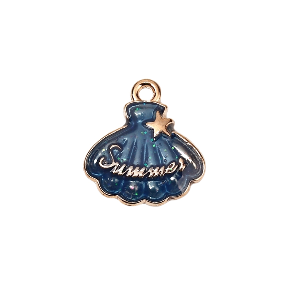 shell summer enamel charm, shell charm, charm, shell, gold plated, enamel charm, jewelry making, gold plated charm, jewelry supplies, vintage supplies, blue enamel, enamel shell charm, summer enamel charm, 17x16mm, jewelry findings, 02887