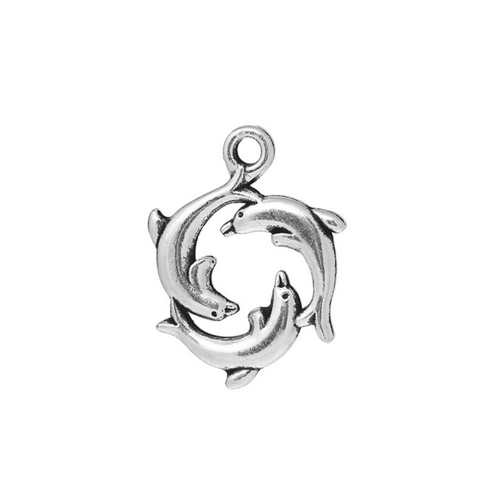 circlet dolphin charm, dolphin charm, charm, dolphin, antique silver, ocean charm, jewelry making, antique silver plated charm, jewelry supplies, animal charm, pendant, vintage supplies, dolphin pendant, 21x16mm, jewelry findings, 02888