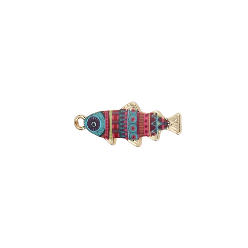 multicolor fish enamel charm, fish charm, charm, fish, gold plated, enamel charm, jewelry making, gold plated charm, jewelry supplies, vintage supplies, fish drops, enamel fish charm, multicolor enamel charm, 27x11mm, jewelry findings, 02889