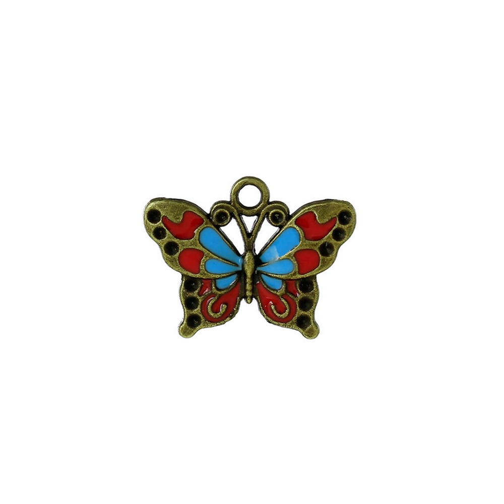 butterfly enamel charm, butterfly charm, charm, butterfly, antique bronze, enamel charm, jewelry making, bronze charm, jewelry supplies, vintage supplies, bronze drops, blue enamel, red enamel, enamel charm, 25x18mm, jewelry findings, 02890