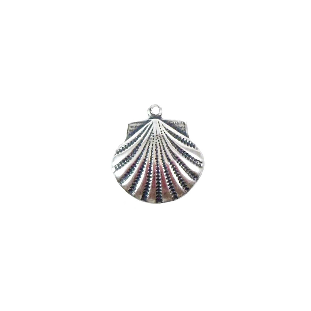 brass shell, shell charm, antique silver, 02893, jewelry making supplies, vintage jewelry supplies, US made, nickel free, beach jewelry, ocean charms, shells, bsueboutiques