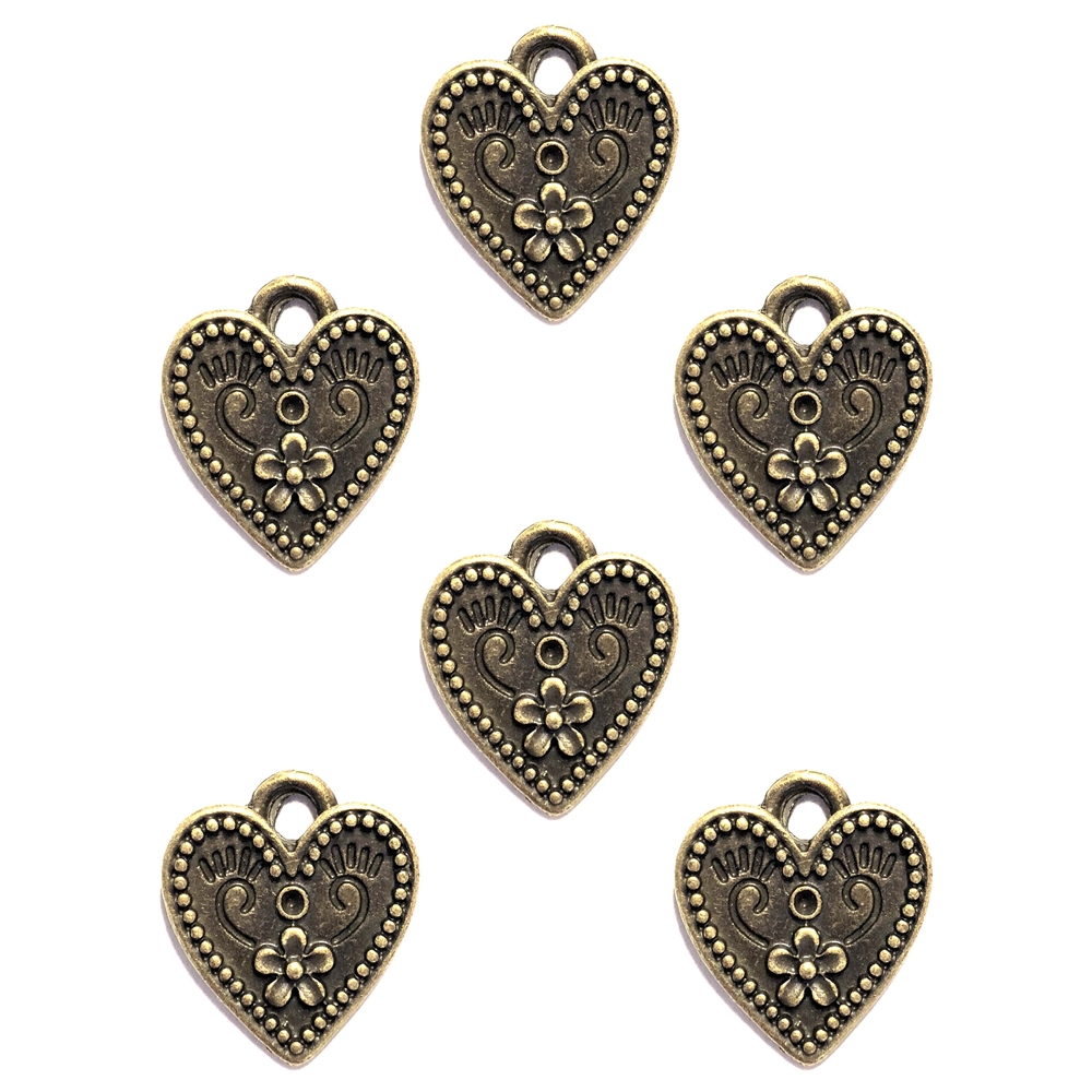 flower heart charms, bronze finish, heart charms, cast zinc, 19mm, lead free, jewelry findings, jewelry making, jewelry supplies, vintage supplies, B'sue Boutiques, charms, hearts, flower, pendents, heart flowers, flower hearts, jewelry charms, 02911