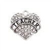 teacher rhinestone heart charm, heart charm, zinc alloy, 20mm, lead free, jewelry findings, jewelry making, jewelry supplies, vintage supplies, B'sue Boutiques, charm, heart, pendent, jewelry charm, teacher charm, rhinestone heart, silver tone, 02912