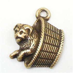 brass charms, dog charms, brass ox, 03069, dog in basket charm, antique brass, vintage jewelry supplies, jewelry making supplies, jewelry charms, animal jewelry, dog jewelry
