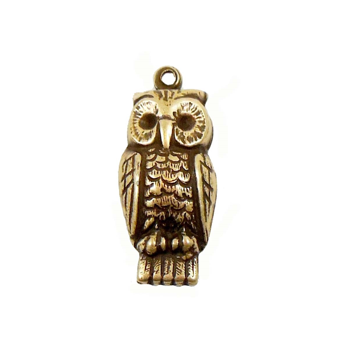 Brass Owl Stampings, Perched Owl Charm, Brass Ox, 24 x 11mm
