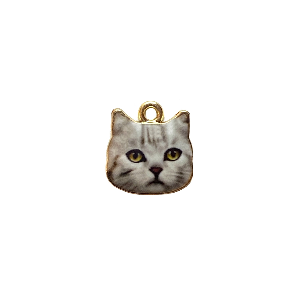 cat charm, kitty charm, enamel charm, 3096, gold plated, kitty face, cat face, realistic animal charm, animals, critters, cats, kittens, charms, B'sue Boutiques, jewelry findings, jewelry making supplies