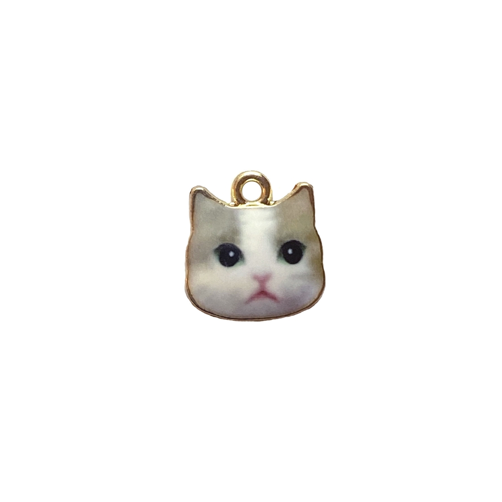 cat charm, kitty charm, enamel charm, 3097, gold plated, kitty face, cat face, realistic animal charm, animals, critters, cats, kittens, charms, B'sue Boutiques, jewelry findings, jewelry making supplies
