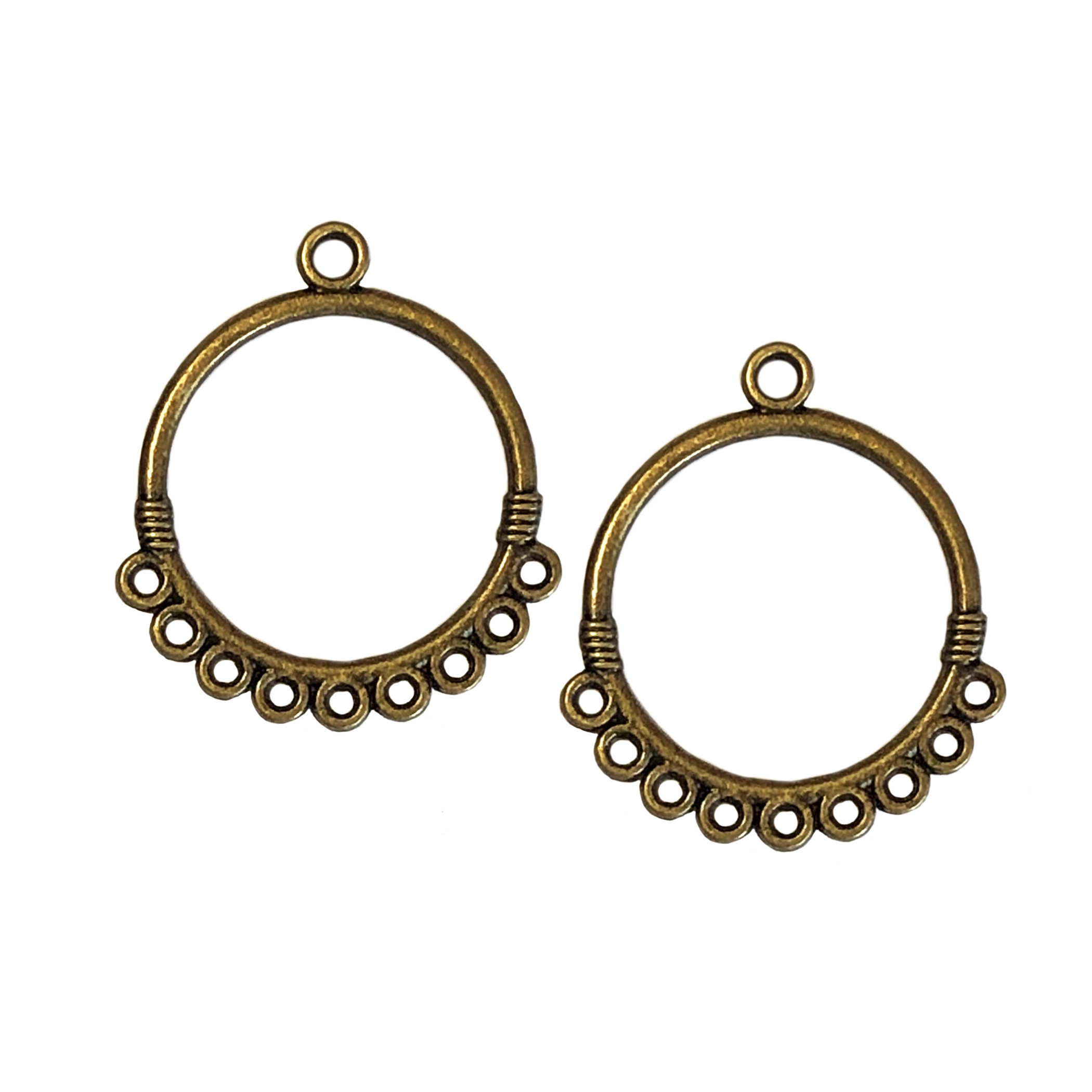 gypsy style ear drop, circle hoops, antique bronze, earrings, bronze, ear drops, circle design, bronze ear drops, gypsy earrings, chandelier earrings, jewelry making, jewelry supplies, B'sue Boutiques, ear drops, 33x29mm, jewelry earrings, 0314