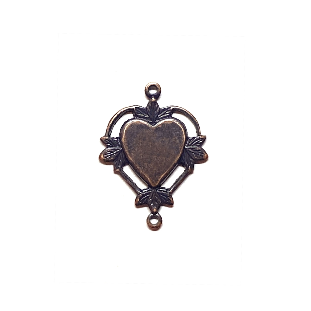 leafy heart connector, rusted iron, heart connector, connector, jewelry connector, leafy heart, 22x17mm, ear drop, brass stamping, jewelry making, vintage supplies, jewelry supplies, blank center, charm, jewelry findings, 03164