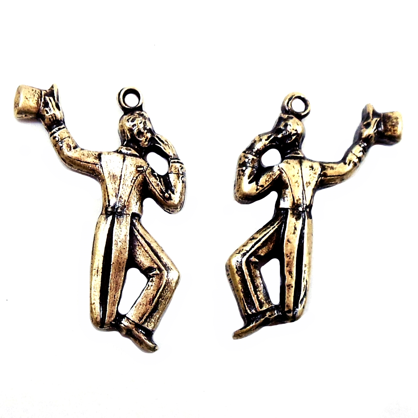 Dancers, charms, Brass ox, 03220, antique brass, top hats, dancing men, charm, earrings, ear drops, jewelry supplies, jewelry making, Bsue Boutiques