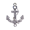 Anchor Connectors, Imitation Crystal Rhinestones, Anchor Pendant,  Double Loop, Rhodium Base, 32 x 29mm
