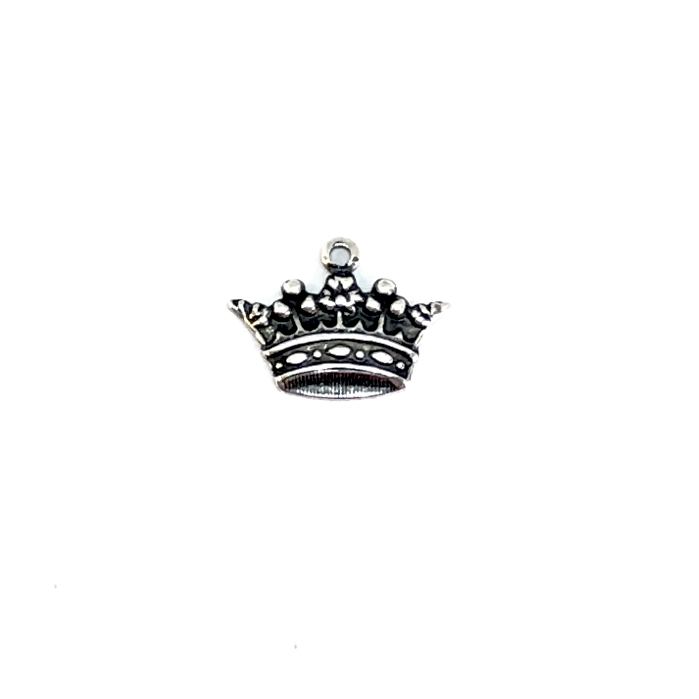 Brass Crown Charm, Silverware Silver Plate, 03247, charm bracelets, jewelry making supplies, vintage jewelry supplies, crown charms, antique silver, bracelet making supplies, US made, Bsue Boutiques, nickel free