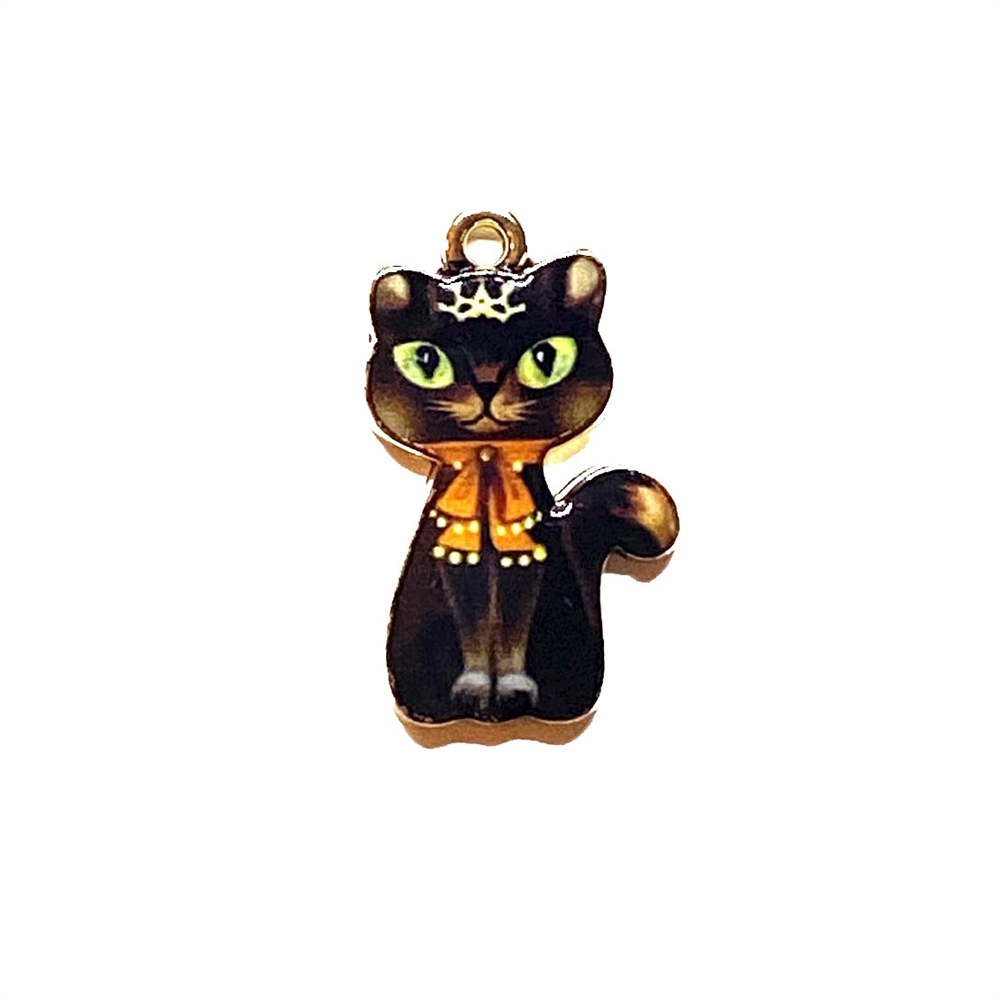 kitty charm, cat charm, kitty, cat, charm, pendant, 23 x 14mm, B'sue Boutiques, jewelry making, vintage supplies, jewelry supplies, jewelry findings, 03276, enamel, sitting pretty, kitty with a crown