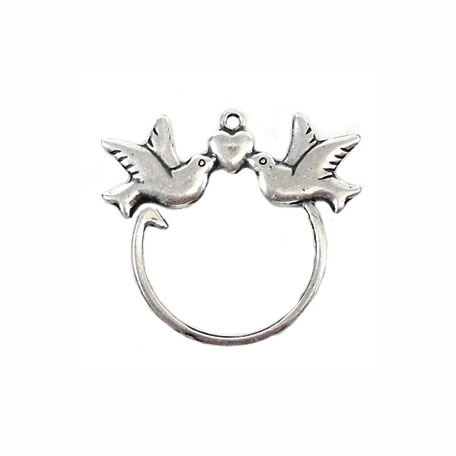 charm enhancer or holder, silver, 03282, silverware silverplate, charm holder, charms, birds, love birds, heart, B'sue Boutiques, jewelry supplies, findings