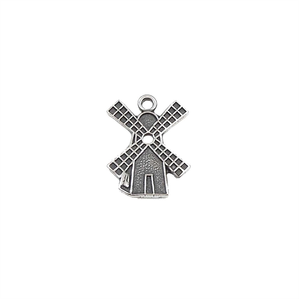 little windmill charm, silverware silverplate, windmill charm, antique silver, silver windmill charm, US-made, nickel-free, 16x13mm, jewelry charm, charm, jewelry making, silver charm, jewelry supplies, windmill stamping, B'sue Boutiques, 03297