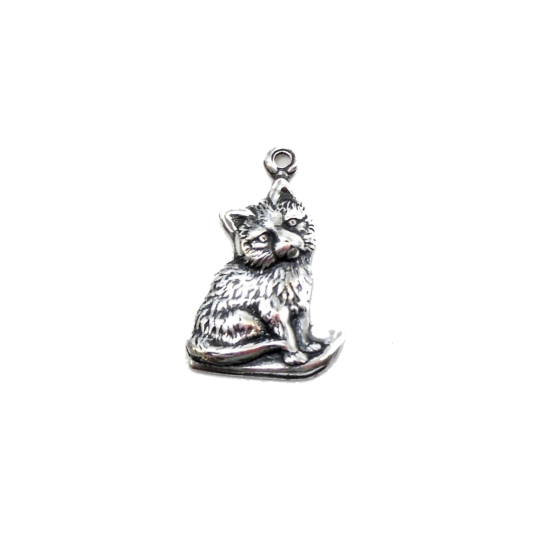 kitty charm, cat charm, kitty, cat, charm, pendent, silverplate, silverware, silverplate silverware, 18x14mm, antique silver, us made, nickel free, B'sue Boutiques, jewelry making, vintage supplies, jewelry supplies, jewelry findings, 03302