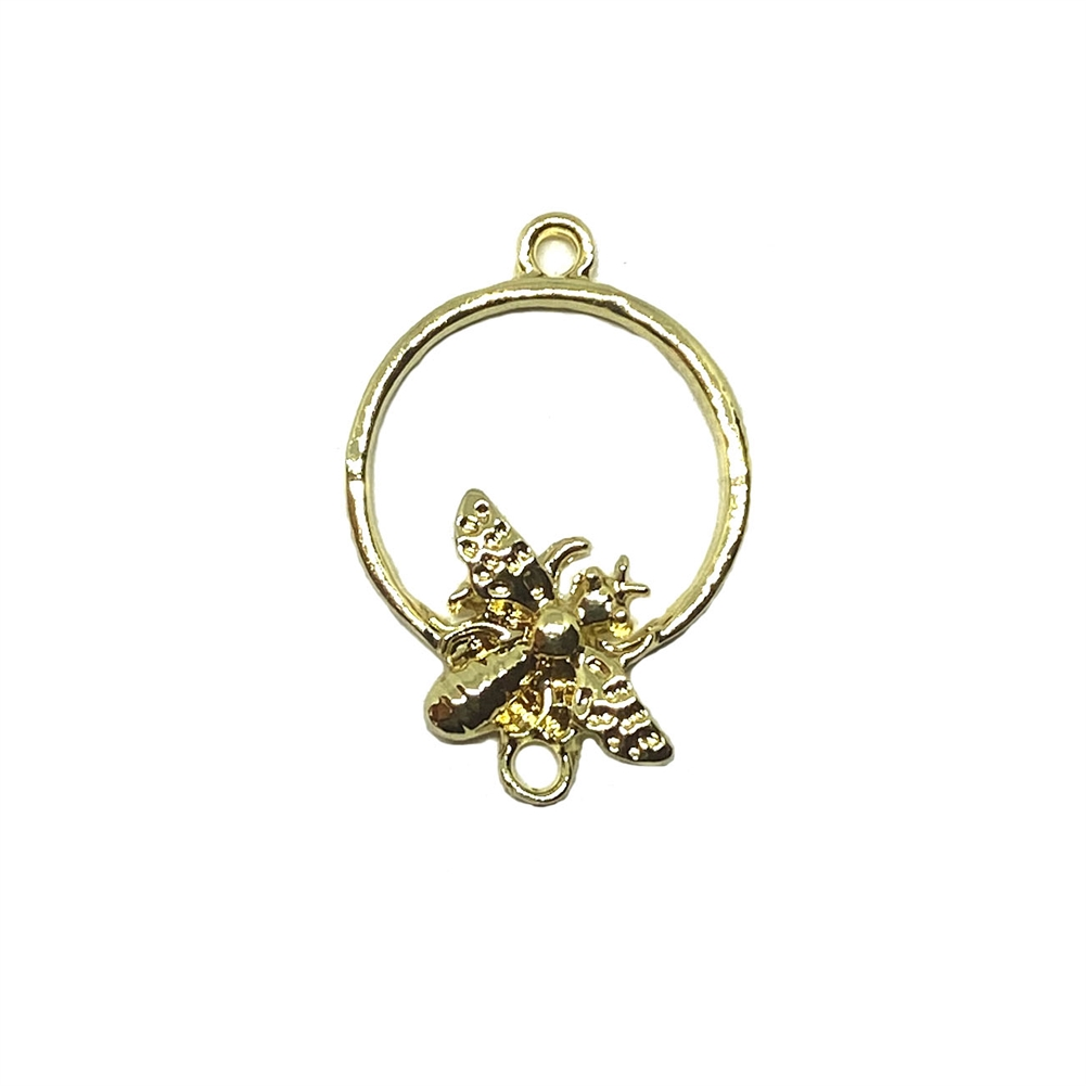 bee on a hoop charm, gold tone, bee, bugs, charms,animal charm, bug charm, insect, B'sue Boutiques, vintage supplies, jewelry supplies, 24 x 17mm, 03338