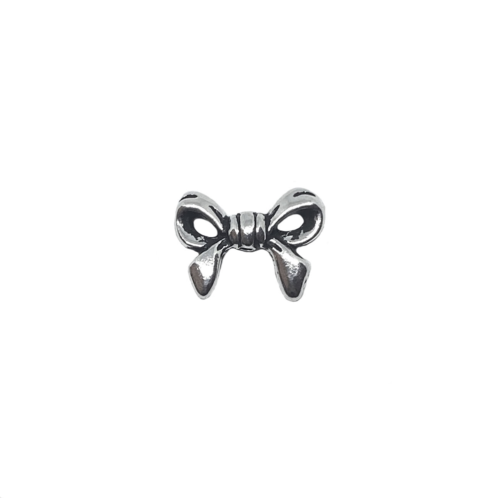 bow embellishment, silver tone, antique silver, bow, bow charm, double sided ribbon bow, stamping, jewelry making, jewelry supplies, vintage supplies, jewelry findings, 03347