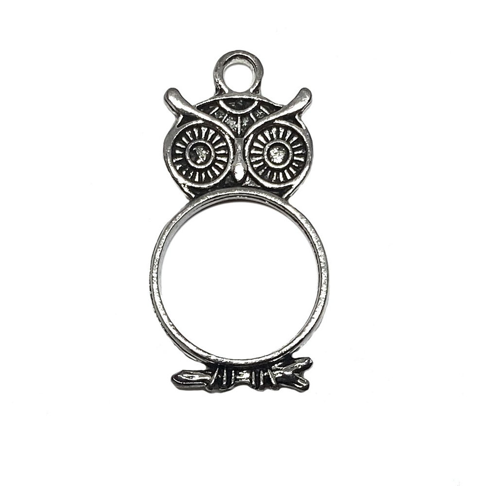owl charms, owl pendant, bezel, 03369, jewelry supplies, B'sue Boutiques, US made jewelry parts, jewelry findings, bird jewelry, charm, pendant, birds, owls, resin