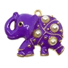 enameled elephant pendant, elephant charm, 03377, B'sue Boutiques, jewelry supplies, zinc alloy, purple elephant, circus animals, elephant jewelry, jungle, animals, safari, charms, animal charm, purple, enamel