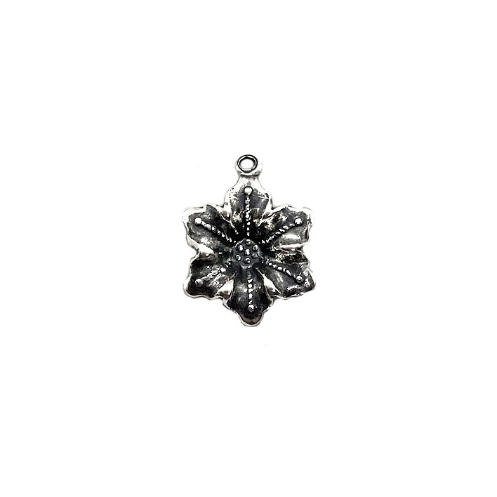 brass charm, flower charm, jewelry making, 03379, silverware silver plate, antique silver, brass jewelry parts, vintage jewelry supplies, US made jewelry, nickel free jewelry, B'sue Boutiques,