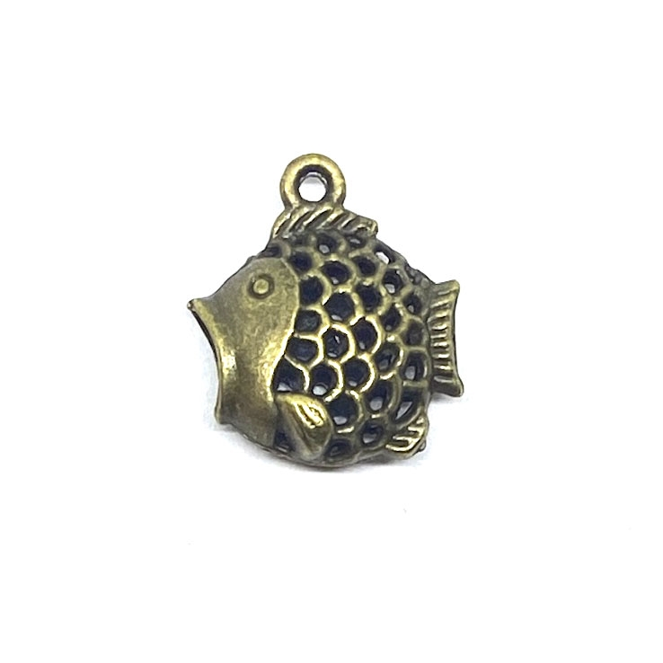 fish charm, antique bronze,  fish jewelry, charm, pendant, 20x18mm, B'sue Boutiques, jewelry making, vintage supplies, jewelry supplies, jewelry findings, beach, ocean, sea life, fish, 03386, double sided, puffy charm