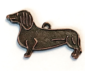 weiner dog charm, rusted iron brass, dog, charm, dog charm, pet charm, dachshund, hotdog dog, rusted iron, brass, stamping, 12x18mm, charm accent, us made, nickel free, B'sue Boutiques, dog stamping, jewelry making, jewelry supplies,jewelry findings,03410